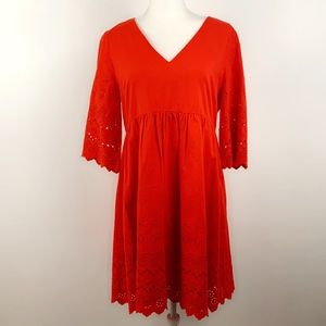 Madewell NWT red eyelet lattice dress style H6963
